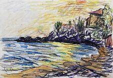 Sonnenuntergang am Meer Felsküste Cottage Expressive Zeichnung Modern Art
