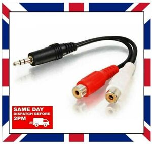 3.5mm MALE to 2 RCA FEMALE audio adapter cable tv music stereo