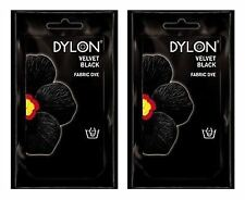 2 x Dylon Fabric Dye Hand Use 50g Pack Jeans Clothes Velvet Black CLEARANCE