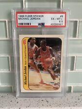 1986 Fleer Sticker Michael Jordan Rookie RC HOF #8 PSA 6.5 EX-MT++ *SHARP*
