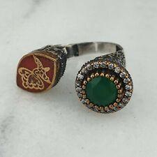Libra esterlina Plata Womens Anillo Verde Agata & Zircon Piedra preciosa Hecho