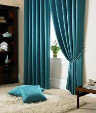 Jacquard Check Teal Lined Pencil Pleat Curtains Drapes *9 Sizes* 66x72
