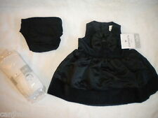 NWT CARTERS NEWBORN GIRLS DRESSY PARTY BLACK DRESS & WHITE TIGHTS SET