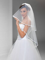 "New 2T White/Ivory Wedding Prom Bridal Fingertip Veil With Comb 40"" - Satin Edge"