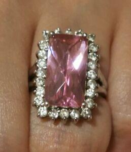 Diamonique Cubic Zirconia ring, 925 Silver Size K-L pink