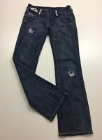 Diesel Womens Sz 26 Medium Wash Distressed Boot Cut Logo Hardware Denim Jeans
