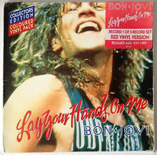 """Bon Jovi Lay Your Hands on Me 7"""" Red Vinyl Part 1 in Special Large Pic Sleeve to"""