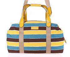NEW $1300 DOLCE & GABBANA Striped Duffle Bag Linen Leather Travel Gym Shoulder