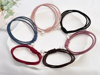 10pcs Mixed Color Triple Knotted with Pearl Hair Ties Rope Elastic Rubber Bands