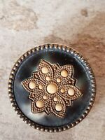 """Antique Large Victorian Flower Button 1 1/4"""" Metal Layered Beaded Edge Gold Blue"""