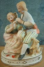 Seated Colonial Man & Woman Bisque Figurine/Statue With Dog Made Occupied Japan