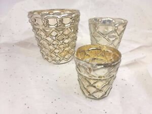 Two's Company Set Of 3 Mercury Candle Holders Or Vases round diamond design