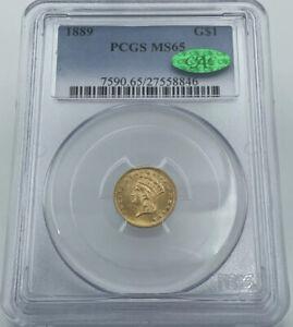 1889 PCGS & CAC MS65 Gold Dollar $1