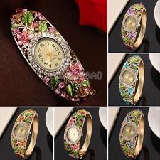 Fashion Women Ladies Bangle Crystal Flower Bracelet Quartz Watch Wristwatch New