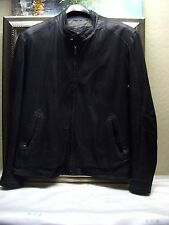 Authentic Remy Leather Double Collar Jacket Size 46 Black Color