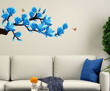 5700079 | Wall Stickers Floral Branch with Artistic Flowers in Blue
