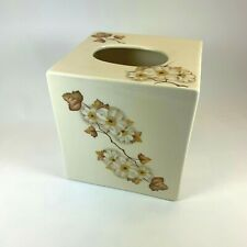 Tissue Box Cover Floral ceramic apple blossoms floral
