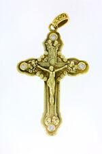 5763-585er G-Gold Kreuz mit Zirkonia 7 x 4  cm Gewicht 24,8 Gramm