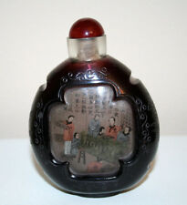Chinese Ruby Overlay Clear Glass Inside Painted Table Top Snuff Bottle Circa1900