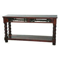 """60"""" L Nora Console Table Hand Crafted Hand Carved Solid Wood Rustic Traditional"""