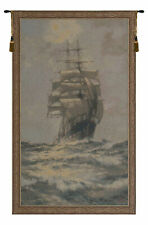 Sailing Ship 2 Italian Jacquard Woven Tapestry Textile Wall Hanging Art Decor