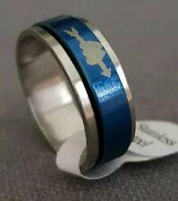 Azul y en color plata, tamaño del anillo de acero inoxidable 20mm.