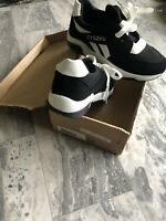 Ladies Black And White Striped Size 7 Sneakers New With Box