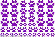 PURPLE PAW PRINTS-2 sheets total 44 pieces VINYL WALL DECAL STICKER DOG CAT
