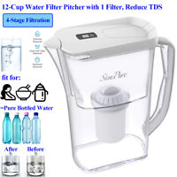 12-Cup Water Filter Pitcher Purifier Jug Reduce3.5L TDS BPA-Free Remove Chlorine