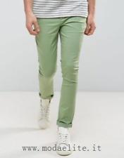 ASOS chino pantaloni slim W30 L30 green verde vischio