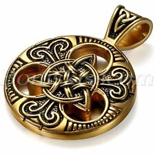 "Vintage Gold Black Stainless Steel Celtic Knot Pendant Men's Necklace Chain 24"""