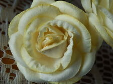 10 Mulberry Paper ROSES 45mm LEMON/CREAM Wedding PARTY Table Decorations CRAFT