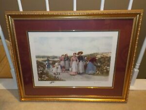 "VINTAGE Jennie Brownscombe ""Berry Pickers"" Framed Print"