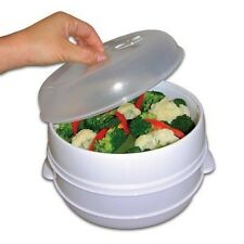 2 Tier Microwave Steamer Food Cooker Quick Fast Vegetable Healthy Cook Kitchen