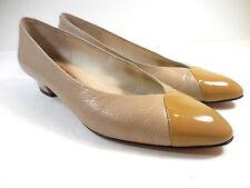 """Amalfi Dill Womens Low Heels Career Executive 1.5"""" Sz 7N Italy Cap Toe Beige Tan"""