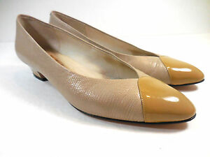 "Amalfi Dill Womens Low Heels Career Executive 1.5"" Sz 7N Italy Cap Toe Beige Tan"