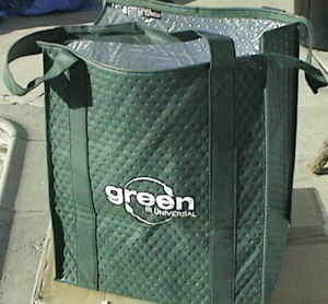Grocery Takeout Hot Cold Items Thermal Insulated Reusable Green Shopping Bag