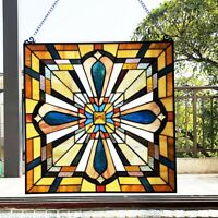 """20"""" x 20"""" Crossroads Mission Tiffany Style Stained Glass Window Panel"""