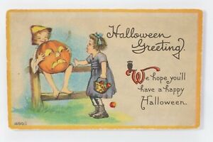 Vintage Halloween Postcard  Boy & Girl with Pumpkin JOL By Bergman