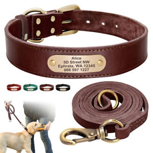 Soft Genuine Leather Custom Dog Collar with Leash set ID Tag Engraved Nameplate