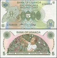 UGANDA BILLETE 5 SHILLINGS. ND (1982) LUJO. Cat# P.15a