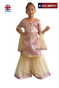 Kids Girls Indian Sharara Kameez  Three Piece Party Wear Suit UK Stock G001