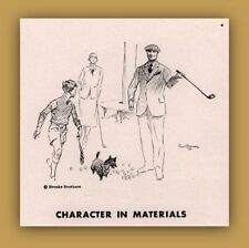 1936  B AD  BROOKS BROTHERS CLOTHING GOLF DOG CHILD BROWN ART