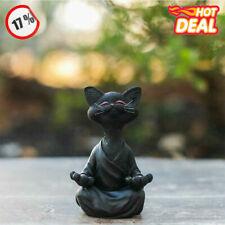Black Buddha Cat Figurine Meditation Yoga Collectible Happy Cat Art Sculpt D2W1