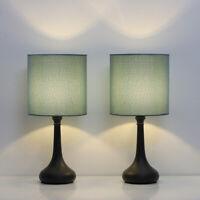 Set of 2 Vintage Bedside Lamp Green Lampshade Nightstand Light Table Lamp Metal