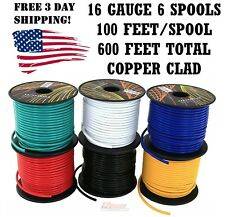 16 GA GAUGE 100 FT SPOOLS COPPER CLAD REMOTE POWER GROUND WIRE PRIMARY 6 Pack