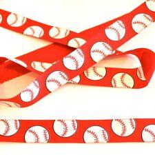 "BASEBALL on red grosgrain ribbon 7/8"" x 3 ft Sports Bat Batter Homerun"