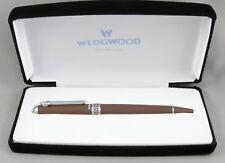 Wedgwood DKP Chocolate Brown Jasperware & Chrome Ballpoint Pen - New In Box
