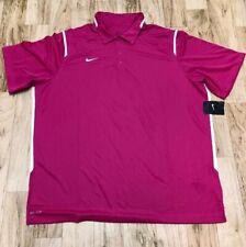 NWT Nike Men's Dri-Fit Gameday Polo Shirt Pink White 658085 Size 2XL