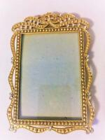 "ELEGANT BAROQUE GOLD METAL TABLE TOP PHOTO PICTURE FRAME SPARKLING GEMS 3.5""X5"""